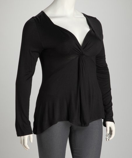 Black Plus-Size Knot-Front Top