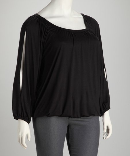 Black Plus-Size Scoop Neck Tunic