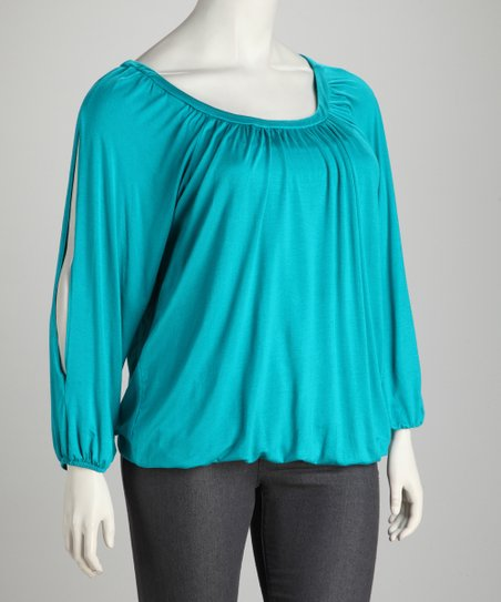 Teal Plus-Size Scoop Neck Top