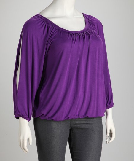 Purple Plus-Size Scoop Neck Top