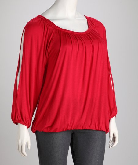 Red Plus-Size Scoop Neck Top