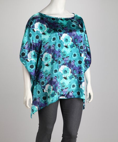 Blue Flower Silk Plus-Size Dolman Tunic