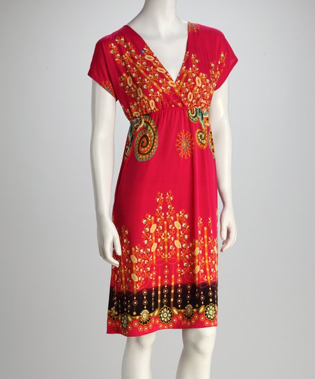 Fuchsia Floral Scroll Surplice Dress