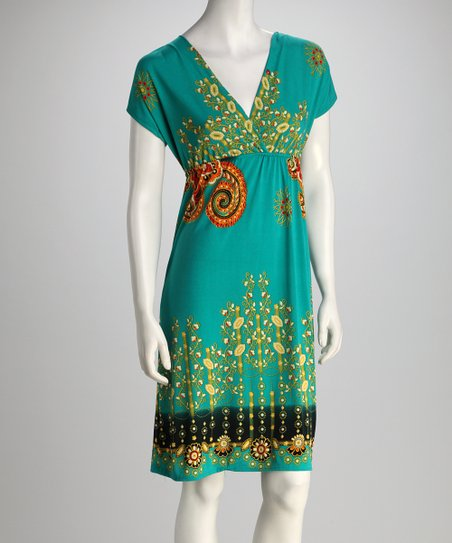 Green Floral Scroll Surplice Dress