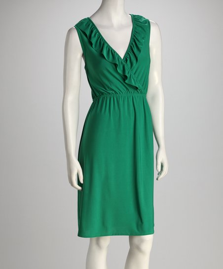 Green Surplice Ruffle Dress