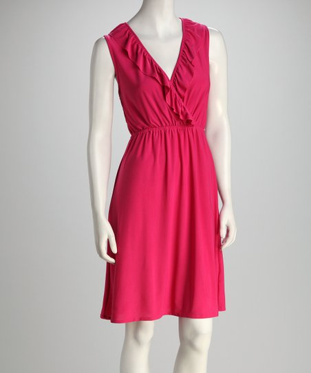 Pink Surplice Ruffle Dress