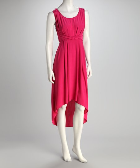 Pink Scoop Neck Hi-Low Dress