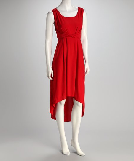 Red Scoop Neck Hi-Low Dress