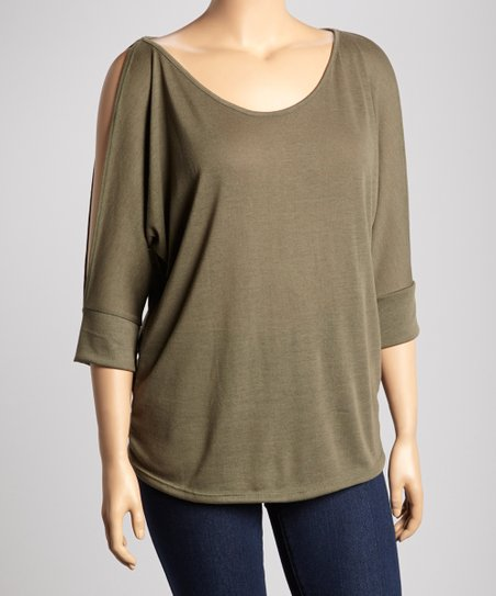 Olive Cutout Top - Plus