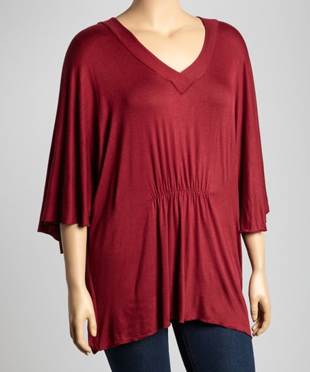 Maroon V-Neck Cape-Sleeve Top - Plus