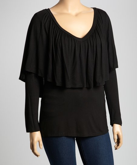 Dark Brown Tiered Long-Sleeve Top - Plus