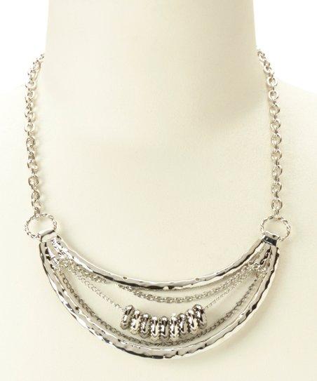 Hematite & Silver Hammered Bib Necklace