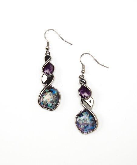 Purple Opal Twist Drop Earrings