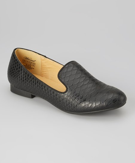 Black Croco-Embossed Slate Loafer