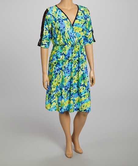Green & Yellow Floral Lace Surplice Dress - Plus