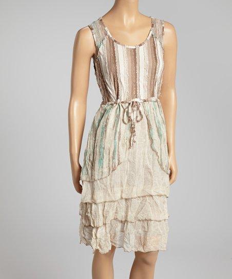 Green & Sand Ruffle Dress