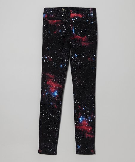 Black Wash Cosmic Galaxy Skinny Jeans