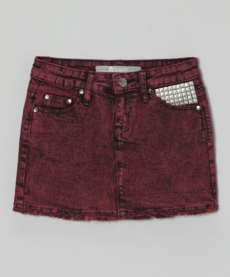 Fuchsia Stud Acid Wash Skirt