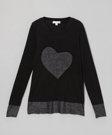 Black Metallic Heart Tee