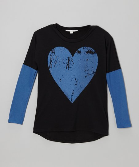Black & Blue Big Heart Layered Tee