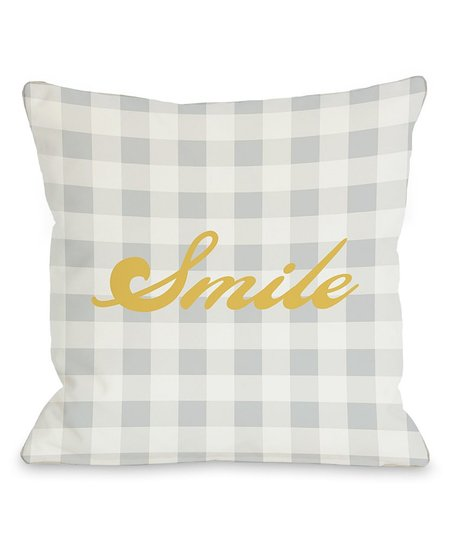 Gingham 'Smile' Pillow - Set of Two