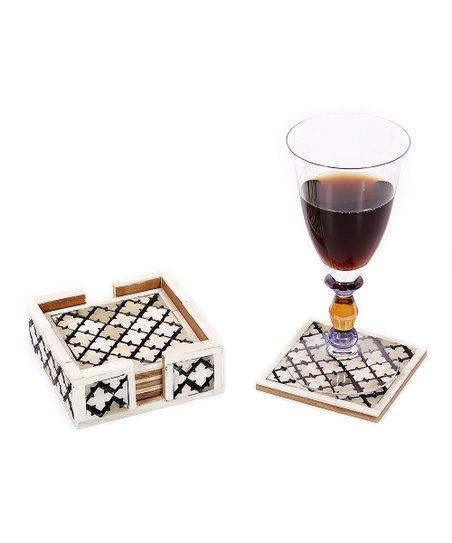 Natural & White Alhambra Bone Coaster - Set of Four