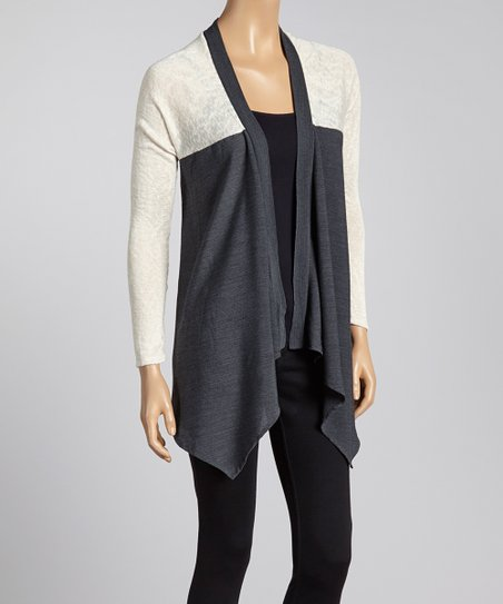 Gray & Cream Color Block Open Cardigan
