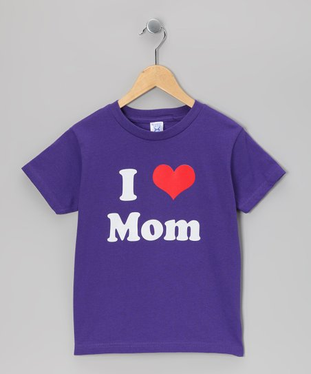 Purple I Love Mom Tee - Kids