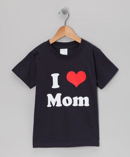 Navy I Love Mom Tee - Kids