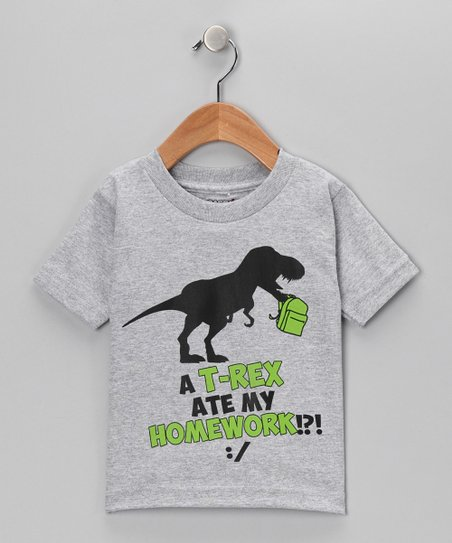 Athletic Heather T-Rex Ate Homework Tee - Kids