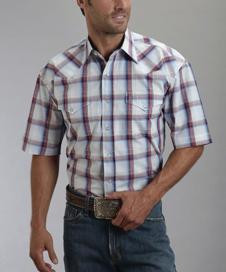 White Plain Plaid Short-Sleeve Button-Up - Men
