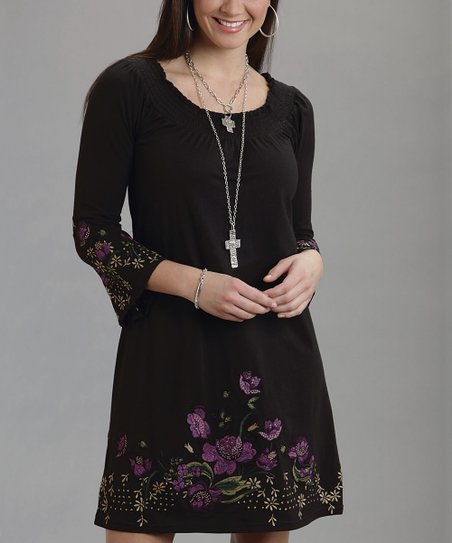Black Floral Embroidered Bell-Sleeve Dress - Women
