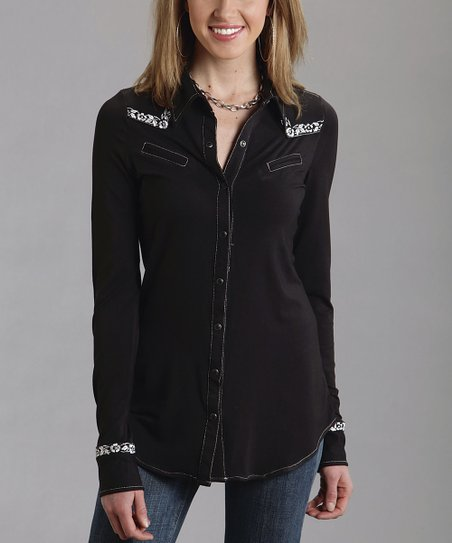 Black & White Embroidered Western Button-Up - Women