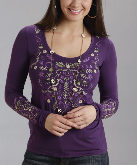 Purple Embroidered Scoop Neck Top - Women