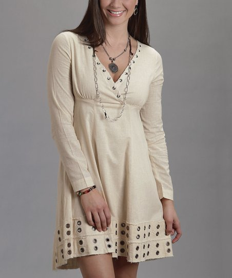 Cream Hole-Punch Surplice Dress - Women