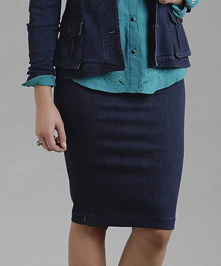 Dark Blue Side-Slit Denim Skirt - Women