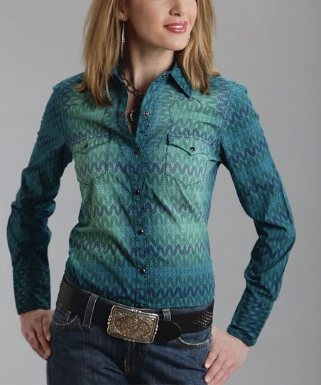 Blue Wave Denim Western Button-Up - Women