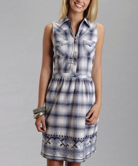 Blue & White Plaid Embroidered Sleeveless Dress - Women