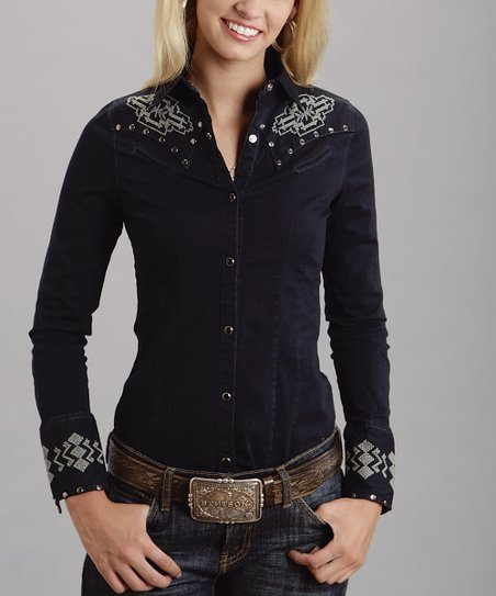 Black Tribal Studded Western Button-Up - Women