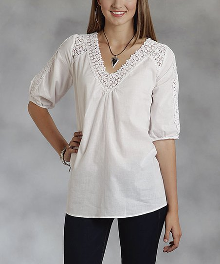 White Crochet-Trim V-Neck Top - Women