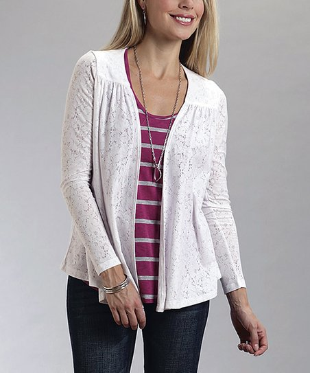 White Lace Open Cardigan - Women