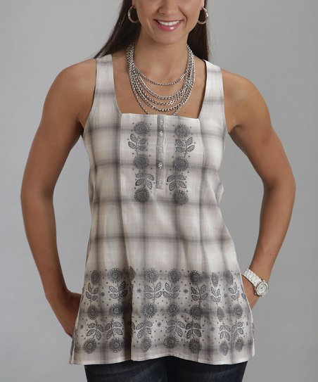 White & Gray Plaid Embroidered Tank - Women