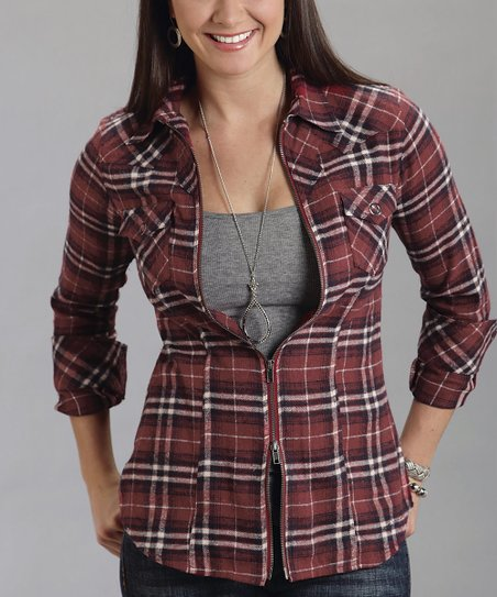 Red Plaid Zip-Up Top - Women