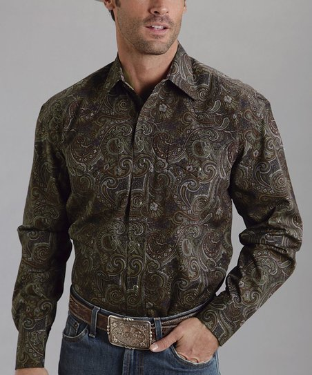 Brown Abilene Paisley Poplin Western Button-Up - Men