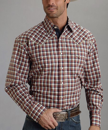 Red Four-Square Check Twill Button-Up - Men