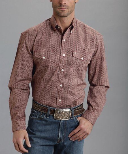 Red Roman Foulard One-Pocket Poplin Western Button-Up - Men