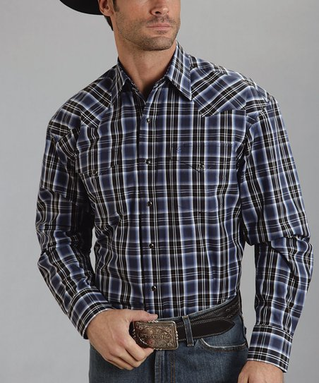 Blue Cyber Plaid Flat-Weave Button-Up - Men