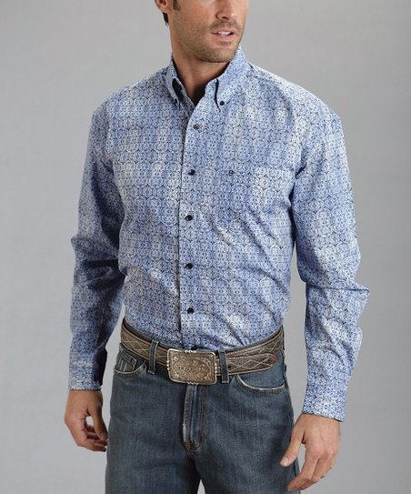 Blue Ironwork Poplin Button-Up - Men