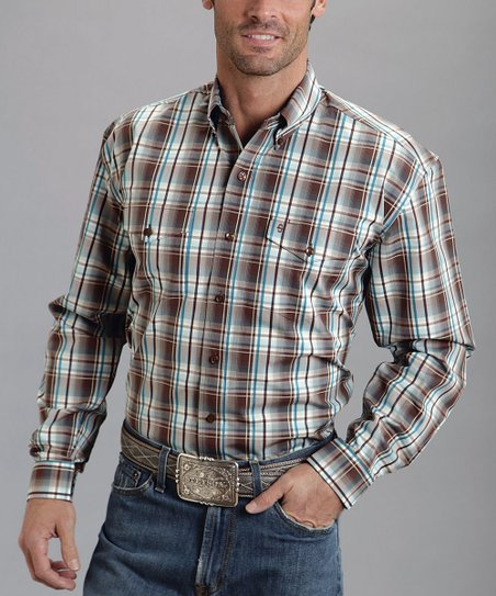 Brown Club Plaid Two-Pocket Button-Up - Men