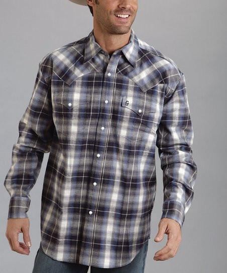 Blue & Gray Flannel Plaid Button-Up - Men